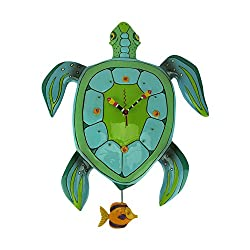 Allen Designs Sup Daddy? 22 inches x 17 inches XL Turtle Swinging Whimsical Pendulum Wall Clock