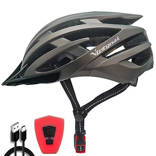 VICTGOAL Fahrradhelm mit Sicherheit LED Rear Light Mountain Bike Helm für Herren Damen Fahrradhelm mit Abnehmbares Visier Road Cycling Helm (Ti)