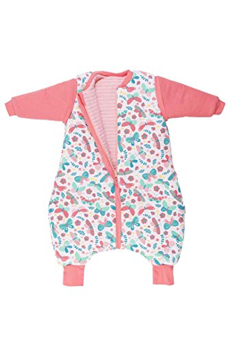 Schlummersack Schlafsack mit Beinen - Wendeschlafsack in 2.5 Tog für den ganzjährigen Gebrauch mit abnehmbaren Ärmeln - Schmetterling - 90 cm
