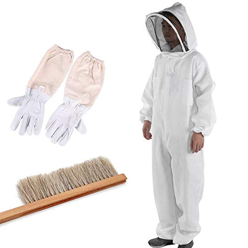 Bee Protective Clothes, Protective Clothes, Beekeeping Equipment, Bees, Wasp Repellent, Pest Control, Integrated Type, Includes Brush Gloves, 3-Piece Face Net, Easy to Remove - whites