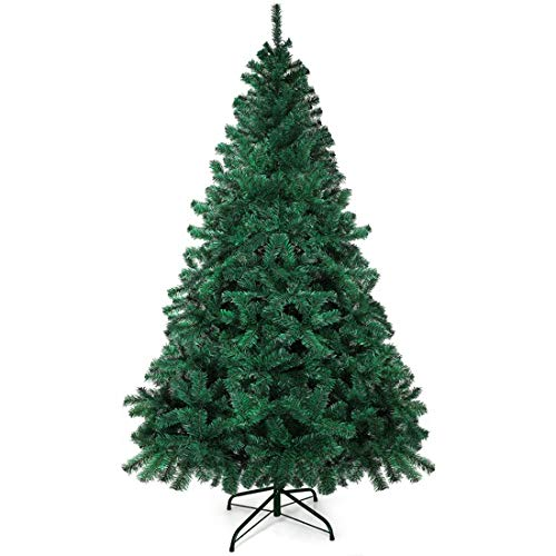 GOLDORO Christmas Tree 7.5ft 800 Branch Tips Artificial Christmas Tree Easy Assembly Foldable Metal Stand PVC for Indoor Outdoor Christmas Decorations