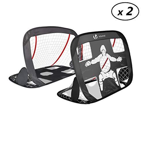 VOUNOT Cage DE Foot Portable – Lot DE 2 PCS | But de Football Pliable | Cage de Football Pop UP | Design 2 en 1 – But d'Entrainement – Cage de Foot Normale | avec Sac Rangement et Piquets