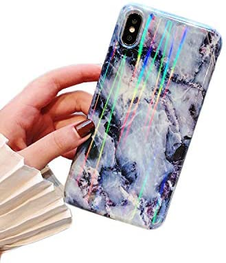 Cocomii Holographic Marble iPhone XR Case, Slim Thin Glossy Soft Flexible TPU Silicone Rubber Gel Shiny Reflective Gradient Fashion Phone Case Bumper Cover Compatible with Apple iPhone XR 6.1