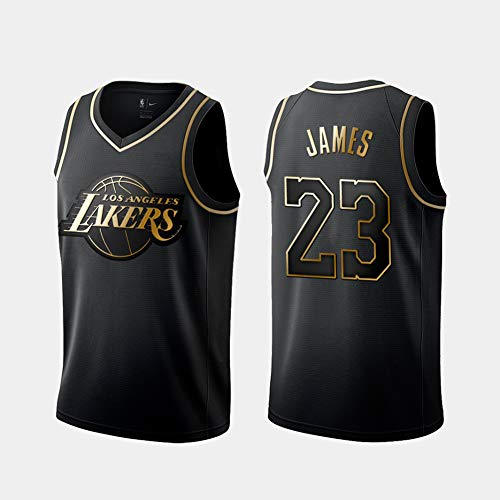 DCE Herren Trikots Lakers 23# Lebron James Retro Mesh Basketballhemd Sommer Trikots Basketballuniform Stickerei Tops Basketball Anzug Jerseys (Schwarz & Gold, S)