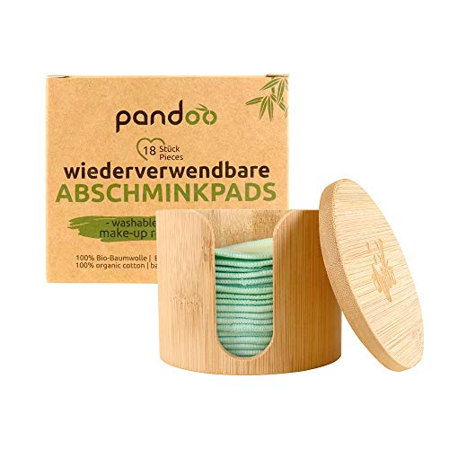 pandoo Wiederverwendbare und Waschbare Wattepads aus Bio-Baumwolle | Baumwolle Make Up Entferner Pads | umweltfreundliche Abschminkpads | 18 Stück inkl. Waschbeutel und Bambus-Box