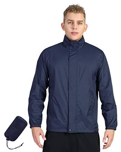 Outdoor Ventures Men's Lightweight Raincoat Packable Rain Jacket Waterproof Raincoat with Hood Active Outdoor Windbreaker (Royal Blue New, XL (Chest: 45-48))