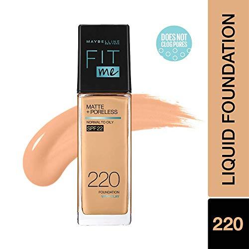 Maybelline New York Fit Me Matte+Poreless Liquid Foundation (With Pump & SPF 22), 220 Natural Beige, 30ml