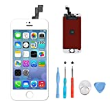 YXIN iPhone 5S Screen Replacement,LCD Touch Screen Digitizer Display Frame Aseembly Full Set with Free Tools Kit for iPhone 5S White