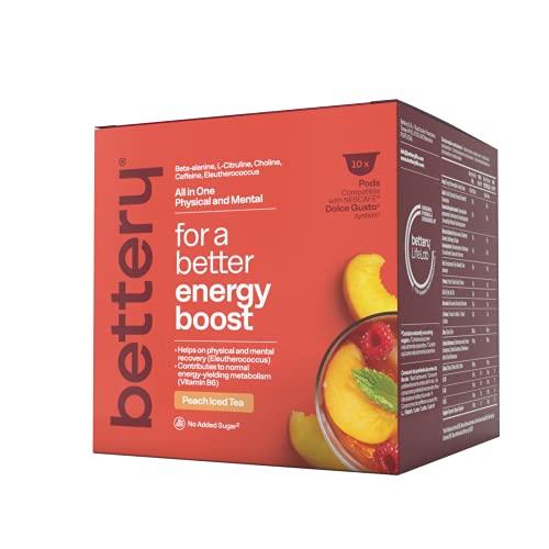 Bettery For a Better Energy Boost (10 x 12 g) - Complemento Alimenticio energético con beta alanina y cafeína naturales de fuentes veganas | Cápsulas para Máquina NESCAFE* DOLCE GUSTO* - Té melocotón
