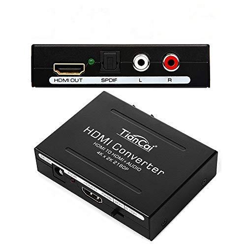 Tihokile 4K HDMI Audio Estrattore, Convertitore da HDMI Digitale a HDMI e SPDIF Toslink e RCA L R Audio, Splitter HDMI con Cavo USB per Lettore Blu Ray SKY HD DVD Box PS3 PS4