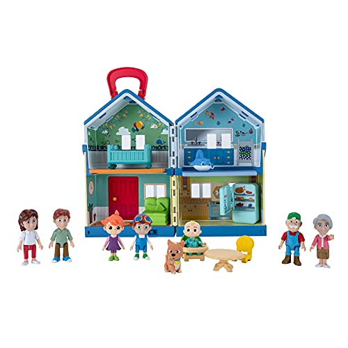 CoComelon Deluxe Family House Playset - Includes JJ, Family, Friends, Shark Potty, Crib, Sofa, Chair, High Chair, Dining Room Table, Fridge, Activity Sheet - Toys for Preschoolers - Amazon Exclusive