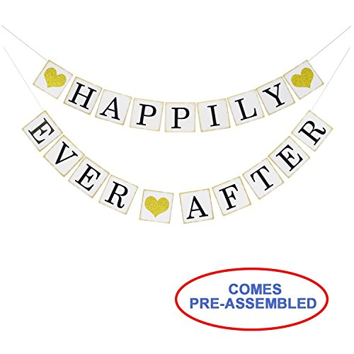 Happily Ever After Banner Sign Gold Glitter Heart -Wedding Engagement Bridal Shower Party Decorations - Photo Props