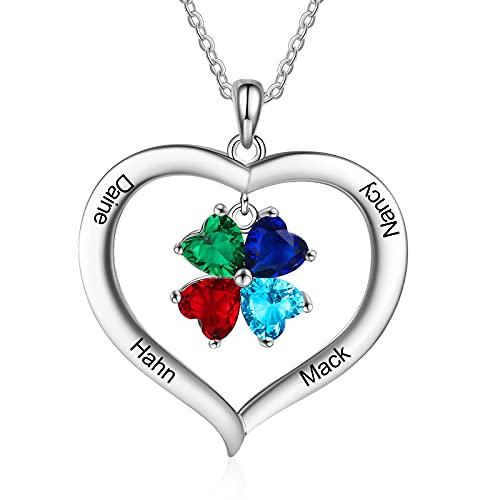 Albertband Collar Personalizado con Piedras de Nacimiento de 1-8 Collar de Plata 925 Colgante de Corazón para Mujer con Nombre Cadena para Madre e Hija para el día de San Valentín Navidad (4 names)