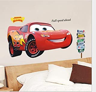 3d Cartoon Removable Wall Decal Sticker Red Car Mcqueen Bedroom Wall Decoration Art For Boys Kids