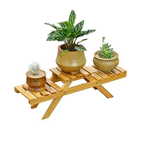 JYCRA Holz Bambus Pflanzenständer 2 Etagen Mini Blumentopf Ständer Indoor Bonsai-Blume Display Rack für Haus Wohnzimmer Garten Balkon Dekor
