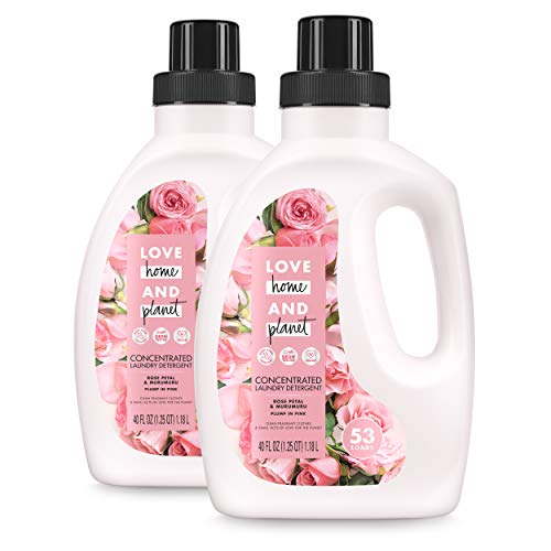 Love Home and Planet Concentrated Laundry Detergent Rose Petal & Murumuru 40 Fl Oz (Pack of 2)