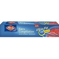 Albal Congelación Herméticas | Ultra-Zip | 1 Litro, 17x17 Centímetros | 20 Bolsas, Plástico