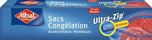 Albal Congelación Herméticas | Ultra-Zip | 1 Litro, 17x17 Centímetros | 20 Bolsas, Plástico, Negro