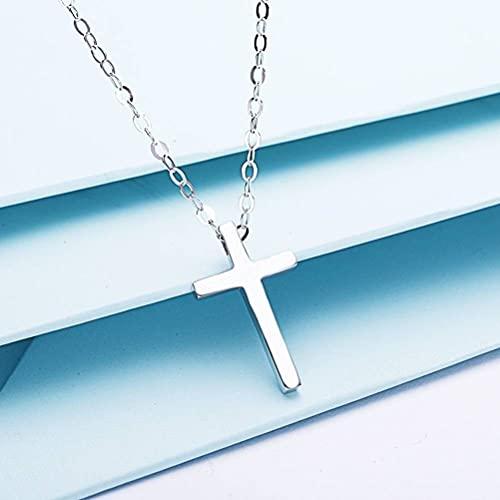 Good dress Collar de Regalo para Mujer S925 Cruz de Plata Esterlina Collar con Colgante Cristiano para Parejas de Hombres Y Mujeres, Día de San Valentín Y Regalos de CumpleañosColgante cruz grande,