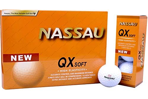 Nassau QX Soft, White, 12 stuks, Golfballen