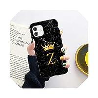 頭文字AZクラウンフォンケースFor iPhone11 12 Mini Pro X XR XS Max 8 7 Plus SE2020大理石のテクスチャカップルソフトTPUカバー-625-For iPhone 7 or 8