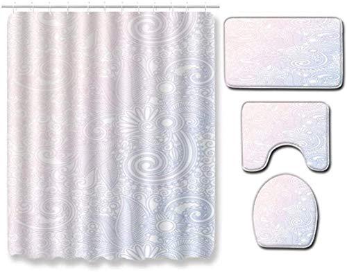 Alfombrilla de inodoro Juego de alfombrillas de baño impresas Cortina de ducha Antideslizante Baño Tapa de alfombra suave Tapa de inodoro Cortina de ducha con ganchos PA40 45 x 75 cm 4PCS