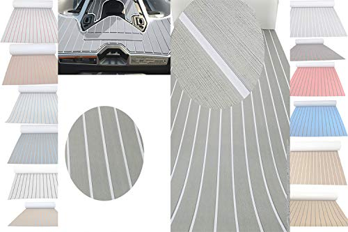 Haiping Line EVA Foam Faux Teak Latest Products Self Adhesive Non-Slip Boat Flooring Decking Pad Marine decking Decorative Mat (Light Gray and White Stripes, 94.5