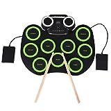 Bellanny Batería Electrónica Apoyar la Función de Bluetooth, Tambor Portátil Conjunto de Altavoces Incorporados con 9 Almohadillas de Batería 2 Pedales para Principiantes, Adultos y Niños, Verde