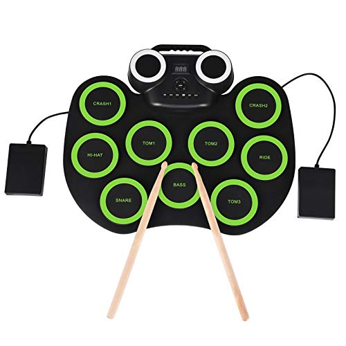 Bellanny Batteria Elettronica Portatile Pieghevole, Supporta Bluetooth Wireless, Batteria a 9 Tasti, 2 Pedali, Adatta a Principianti, Adulti e Bambini, Strumento per Feste di Intrattenimento, Verde