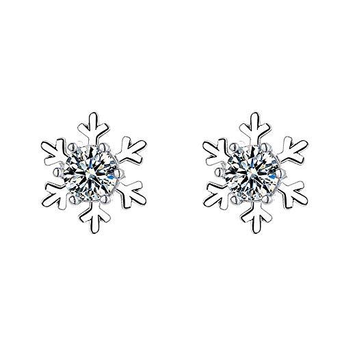 LIRAN Pendientes de plata de ley 925 con diseño de copo de nieve, joyería de plata, joyería de plata con diamantes para hombres, mujeres, aniversario, boda, día de la madre, regalo de cumpleaños