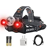 BORUiT RJ-3000 LED Rechargeable Headlamp,3 Modes White and Red LED Hunting Headlamps,5000 Lumens Tactical Flashlight Red Light Head Lamp for Running Camping Hiking Fishing