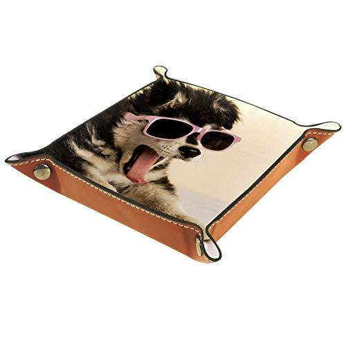 Bandeja de cuero para mujer, organizador de maquillaje para joyas, bandeja para escritorio, aparador, mesita de noche, lindo cachorro con gafas de sol bostezando