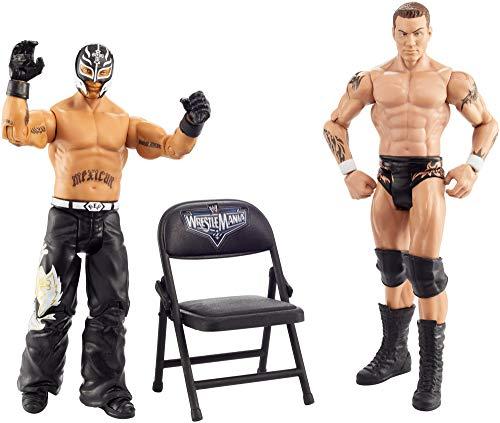 WWE GKY65 - WrestleMania 2er-Pack Figuren (15 cm) Randy Orton vs Rey Mysterio, Spielzeug Actionfiguren ab 6 Jahren