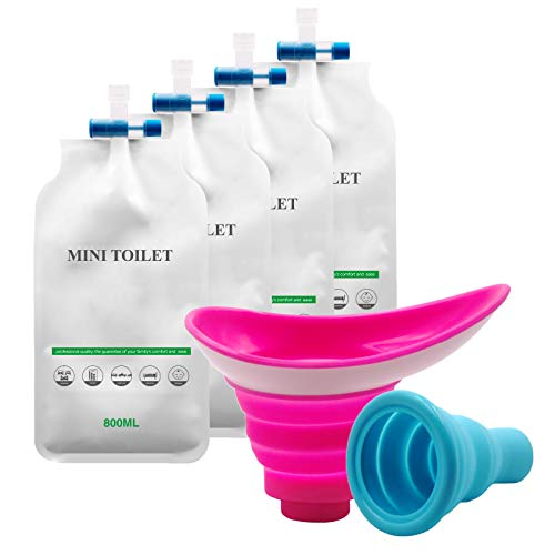 YYAN Portable Female Male Urinal Bag, Women Man Urination Device, Woman Standing up Pee Funnel, Silicone Reusable Collapsible Cup, for Car Outdoor Camping Travel Backpacking (Pink)