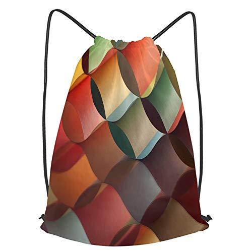 Impermeable Bolsa de Cuerdas Saco de Gimnasio Imagen macro de fondo del patrón de origami colorido Deporte Mochila para Playa Viaje Natación