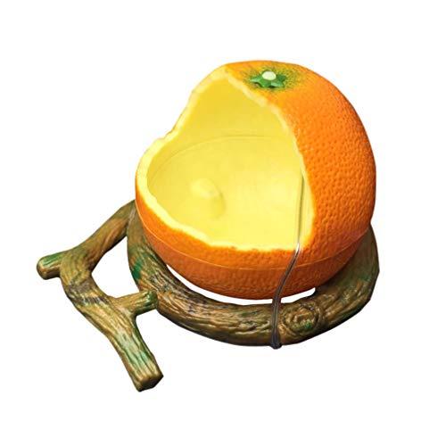 Balacoo cuenco de pájaros comida de pájaros en forma de naranja plato de agua loro cuenco de comida para pájaros loro