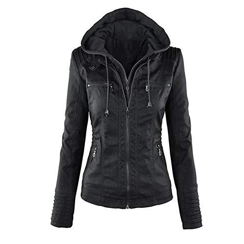 Minetom Mujer Invierno Cremallera Jackets Chaquetas Deportiva Cuero Moto Cazadoras Imitacion Piel Biker Abrigos con Capucha Negro ES 38