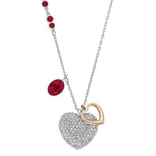 Swarovski Damen-Kette mit Anhänger Duo Heart Medium rhodiniert Kristall transparent 40 cm - 5169393