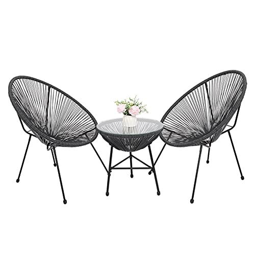 Conjunto de comidas Conjunto de comedor de patio, juegos de muebles de jardín de 3 piezas Conjunto de muebles de patio t-odo clima con 2 sillas y mesa de vidrio con juegos de muebles de patio gris por