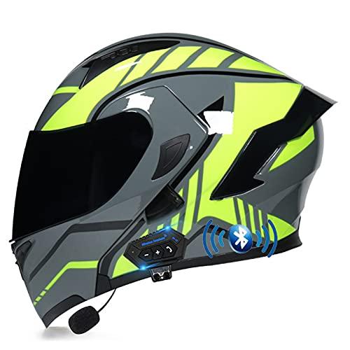 ETScooter Bluetooth Casco Moto Modular, Casco Moto Hombre Mujer con con Doble Visera para Motocicleta Scooter, Certificado ECE Cascos de Moto Integral con Bluetooth Integrado