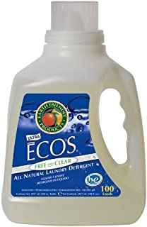 Earth Friendly Products Ecos 2X Liquid Laundry Detergent Free & Clear, 100-Ounce Bottle (Pack of 4)