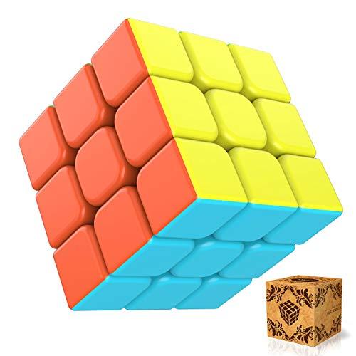 SPLAKS Zauberwürfel 3x3x3 magisch Würfel Speed Cube mit einstellbaren Dreheigenschaften-ohne Aufklebe Kinder Geschenk