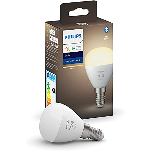 Philips Hue Bombilla inteligente LED esférica E14 (4.5 x 7.8, 5. 2 W, Bluetooth, luz blanca cálida, compatible con Alexa y Google Home)