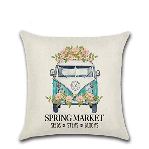 Linen Series Zl-03 Pink Cute Truck Spring Printed Cushion Cover Throw Pillow Cover Room Decoration for Home Car Sofa Sofa
