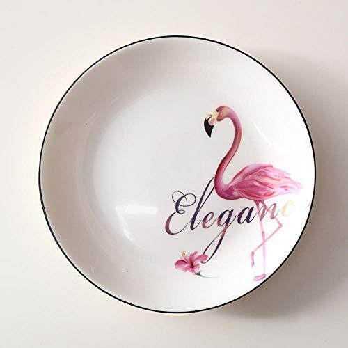 Creativo Flamingo Home Plato de cena Plato de desayuno Plato redondo de cerámica Juego de cuencos Plato de carne japonés Vajilla-8 pulgadas flor roja flamingo línea negra