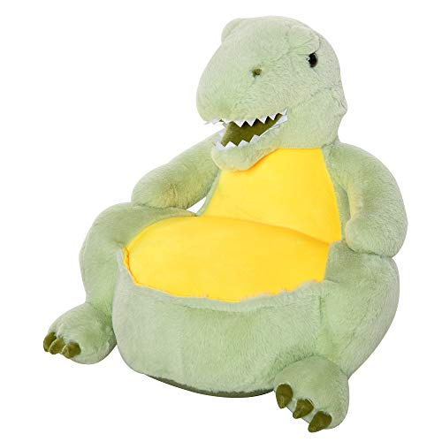 HOMCOM Puff Infantil Diseño de Dinosaurio Sillón para Niños +18 Meses Relleno Asiento Acolchado Antideslizante para Dormitorio Sala de Juegos 60x55x59 cm Verde