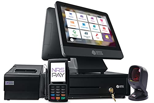NRS Cash Register for Small Businesses (USA ONLY) - POS System with Touch Screen Monitor, Customer-Facing Display, Barcode Scanner, Cash Drawer and Receipt Printer - NRS Pay Locked-Model