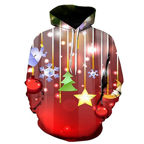Unisex Hoodie Kolylong® Paar Pullover 3D Weihnachten Pulli Weihnachtsbaum Schneeflocke Druck Sweatshirt mit Tunnelzug und Tasche Kapuzenpullover Freizeit Casual Top Oversize Plus Size S-6XL