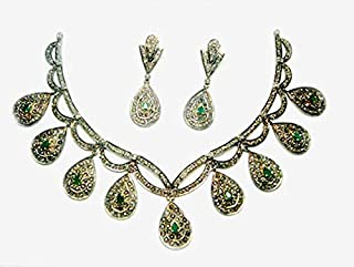 collar de diamantes sin cortar de costozon establece 10.82 Tcw Emerald Rose Cut Diamond 925 Sterling Silver vintage antique jewelry