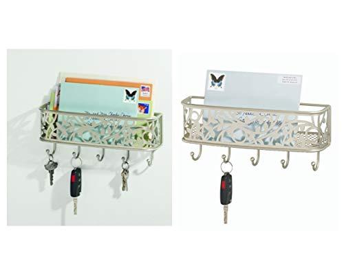 iDesign Schlüsselbrett mit Ablage, kleine Hakenleiste aus Metall für Post, Notizen, Schlüssel, Leinen und mehr, dekorative Briefablage mit 5 Haken, mattsilberfarben